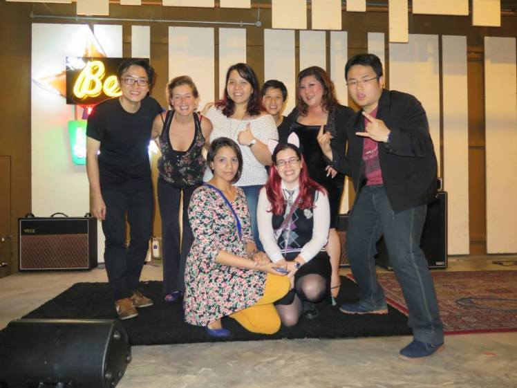 Comedy Kao Kao's all-(but for one open micer and the host)-women lineup, April 2014 L to R (back): Brian Tan, Kristal Zweers (Netherlands), Fiona Reutens, Joanna Sio (Hong Kong), Joanne Kam (Malaysia), Dr Jason Leong L to R (front): Sharul Channa (Singapore), Dominica Malcolm (me)