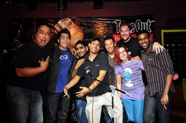 Timeout KL Comedy Thursday November 2009 L to R: Papi Zak, Kuah Jenhan, Kavin Jay, Faisal, Mark (from California), Dominica Malcolm, Matt Sally, Ollie