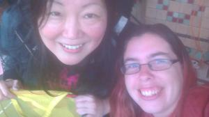 Selfie with Margaret Cho, when she was busking for the homeless