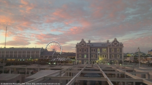 Sunset view of V&A Waterfront from Moyo restaurant, Cape Town, South Africa