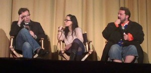 Dana Gould, Janeane Garofalo, and Kevin Smith at the Q&A of Misery Loves Comedy