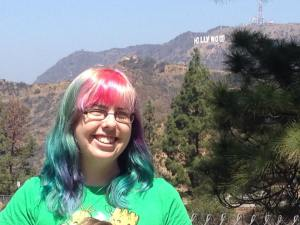 Dominica Malcolm with the Hollywood sign