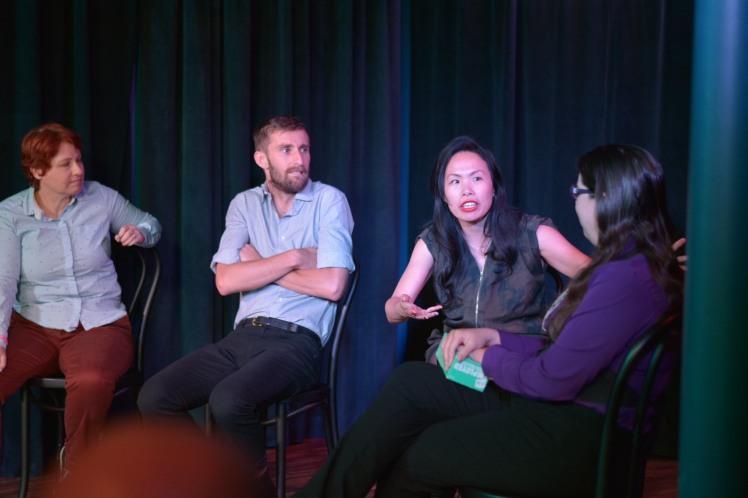 Dana Cory, Graham Downing, and Shirley Chan get interviewed by Dominica May