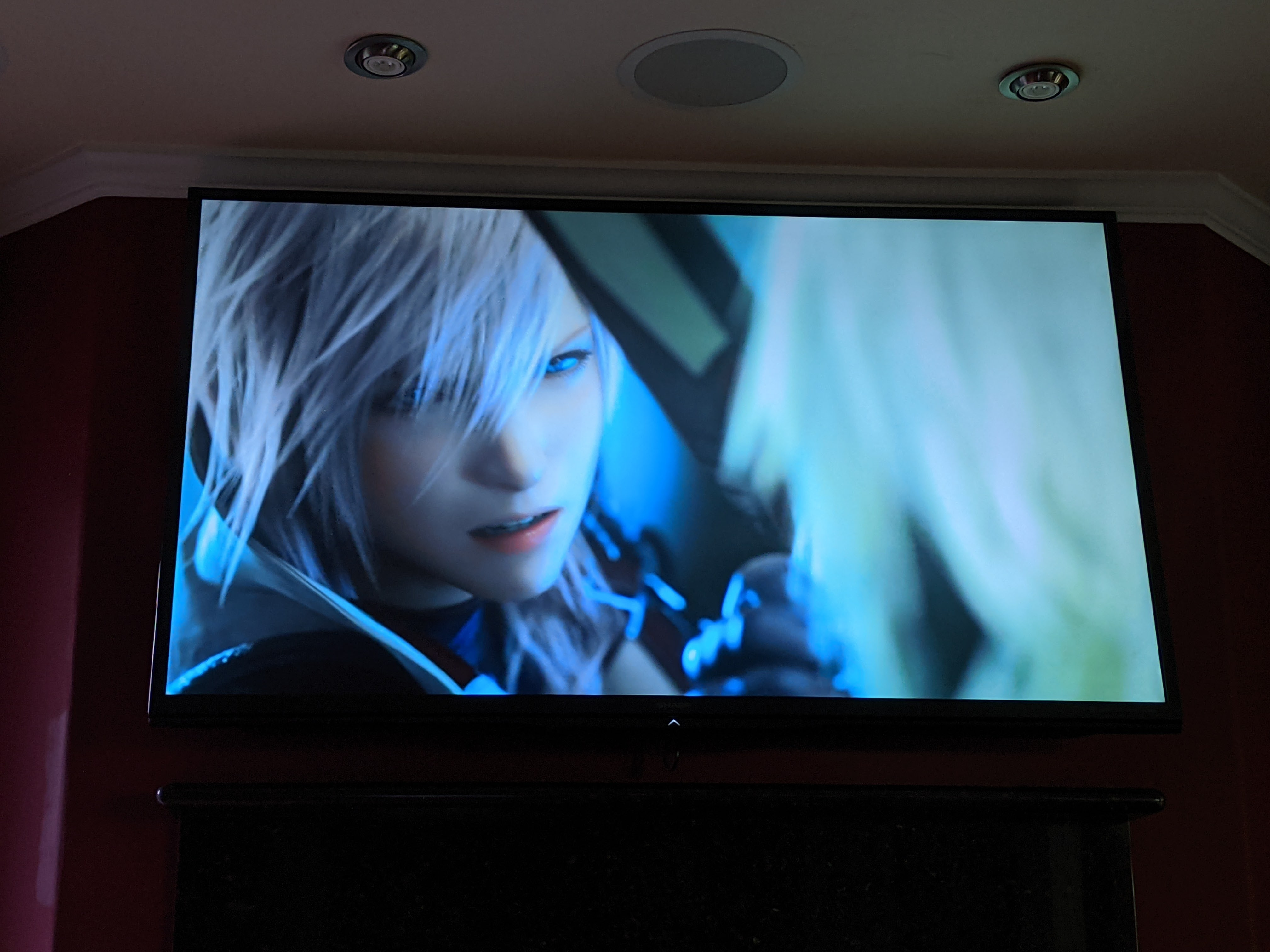 A head shot of the character Lightning from the video game Final Fantasy XIII: Lightning Returns looking at another character with blond hair